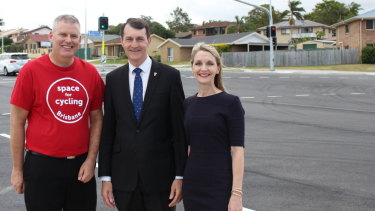 Andrew Methorst, from the Brisbane North Bicycle User Group, with lord mayor Graham Quirk and councillor Amanda Cooper at the Telegraph Road opening.
