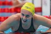 TOKYO, JAPAN - JULY 28: Ariarne Titmus of Team Australia reacts after winning the gold medal in the Women's 200m Freestyle Final on day five of the Tokyo 2020 Olympic Games at Tokyo Aquatics Centre on July 28, 2021 in Tokyo, Japan. (Photo by Maddie Meyer/Getty Images)