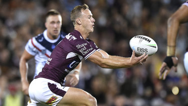 Daly Cherry-Evans juggles the ball during the Sea Eagles' win.