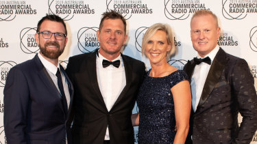 "Kip Wightman, Ashley ""Ash"" Bradnam, Susie O'Neill and David ""Luttsy"" Lutteral from Nova106.9's breakfast show at the 31st Australian Commercial Radio Awards in Brisbane."