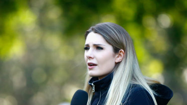 Canadian far-right activist Lauren Southern speaks during a 'Rally for South Africa' demonstration in Sydney.