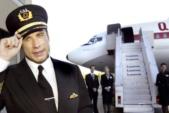 Former Qantas cheerleader John Travolta on a trip to Australia in 2003.