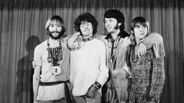 The Monkees at their press conference at the Brighton Hotel in Sydney on September 16, 1968.