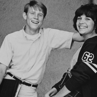 """Ron Howard (who played Steve in American Graffiti) with on-screen kissing partner Cindy Williams (Laurie). """"We better practise,"""" she told the nervous young actor."""