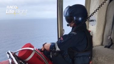 The view from one of the helicopters involved in the search above Moreton Island.