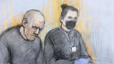 This court artist sketch shows serving police constable Wayne Couzens, left, appearing in the dock at Westminster Magistrates' Court in London.