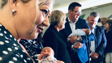 Premier Daniel Andrews (centre) in Geelong on Saturday to make a $100 million hospital funding announcement.