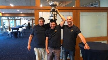 Celebration: David Giles, David Chapman and Matt Whitnall with the Sayonara Cup.