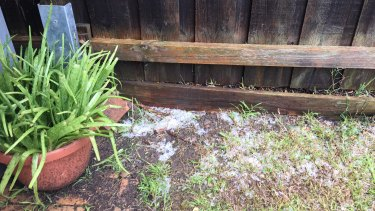 Light hail in Thornbury on Saturday.