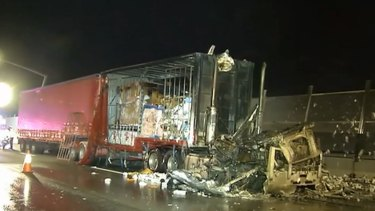 Firefighters say about half the truck's load was saved.