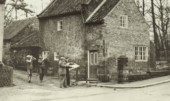 Cooks' Cottage in Yorkshire, England,  just before it was dismantled and packed in 1934.