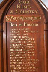 Chris Saunders' name on the Lake Condah mission's Roll of Honour.