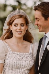 Princess Beatrice wears her grandmother's Norman Hartnell couture gown on her wedding day.