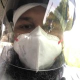 Prabhjot Singh in mask and face shield while travelling in Delhi.