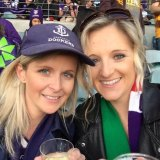 Heather McNeill (left) at a Dockers game.