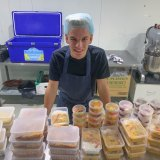 Alex Dekker with an early batch of free meals he made for health workers from his original donated kitchen space in Moorabbin last week.