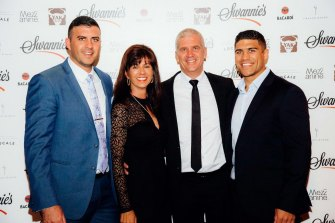 Cigno director Mark Swanepoel, far right, with his family in 2016. Swanepoel has played for Brumbies and Western Force in the Super Rugby competition.