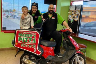 Mario's Pizza in Dianella has shut over Perth's latest coronavirus case because of the high risk to his family and community. Mario Franchina with daughter Aaliyah (9), son Rocky (4).