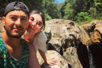 Viviana Gomez with her partner Juan Sebastian. She is stuck in Colombia while he studies his masters in Melbourne.