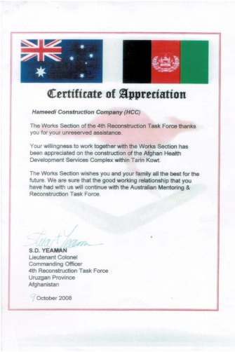 Hammedullah Hammedie has scores of Australian certificates lauding his reconstruction work.