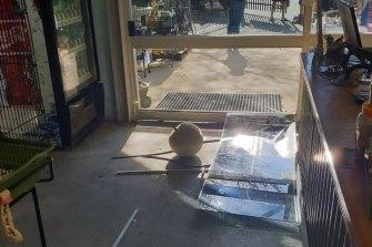 Thieves broke through the store window.