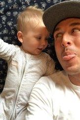 Nathan Schmook with his son Flynn.