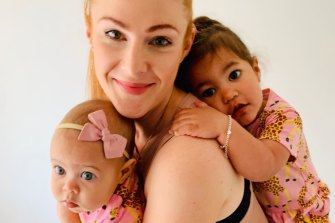 Natalie De Cerff with her daughters Macie (6 months) and Lucia (two years old).