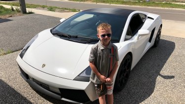 Jet Tormey with a luxury car hired by his father Michael Tormey as part of Jet's 7th birthday celebration.