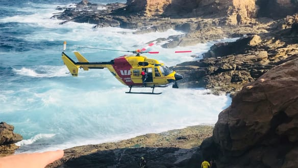 The Westpac Life Saver Rescue Helicopter winched four children to safety at Bermagui after they became stranded on the rocks as the tide came in on Tuesday, January 15, 2019.