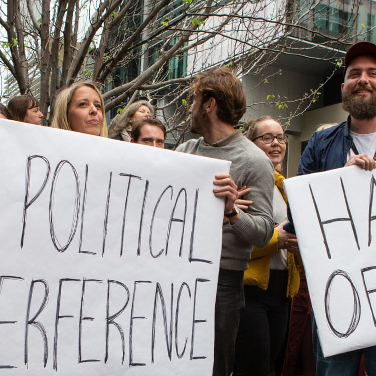 ABC staff walkout of the Ultimo office over chairman Justin Milne's email to former managing director Michelle Guthrie telling her to sack senior reporter Emma Alberici.