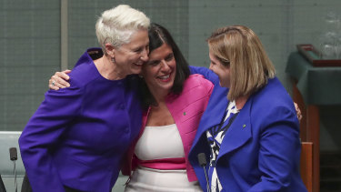 Crossbench MPs Kerryn Phelps, Julia Banks and Rebekha Sharkie celebrate