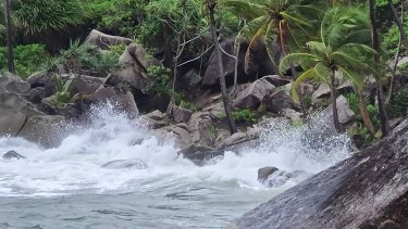 Strong winds and rough seas on Bedarra Island, near Mission Beach, due to Tropical Cyclone Kimi.