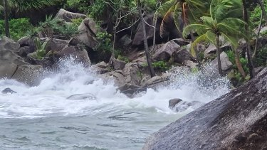 Tropical Cyclone Kimi whips up the sea at Bedarra Island, near Mission Beach.