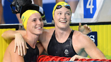 Heading south: Bronte Campbell, left, and Cate Campbell.