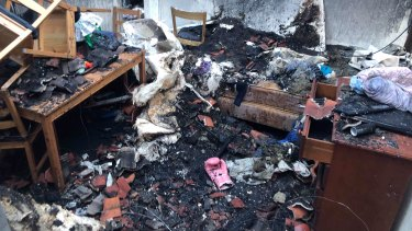 The house fire started in the front lounge room and quickly spread to the rest of the home.