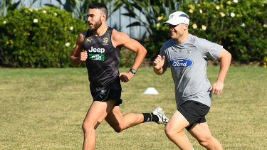 Shane Edwards and Gary Ablett train together in early September and will face off in Saturday's Grand Final.