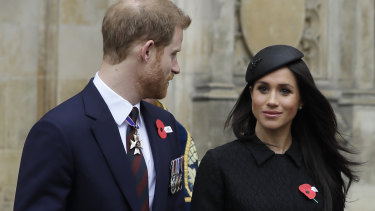 Prince Harry and Meghan Markle leave an Anzac Day service at Westminster Abbey.