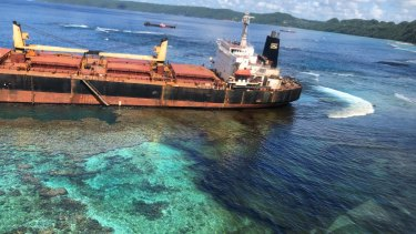 The MV Solomon Trader aground at Rennell Island in the Solomon Islands which has become an environmental disaster.