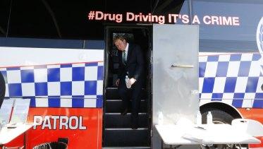Former deputy premier Troy Grant tours a Police Drug Testing Bus in Dubbo in 2015.
