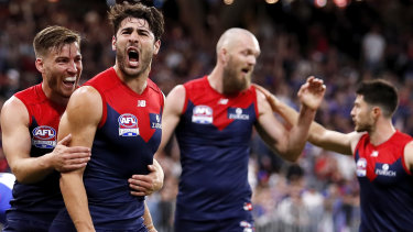 A Christian Petracca-inspired Melbourne stormed to victory over the Western Bulldogs.