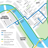 The council plans future connections for active transport through to Kangaroo Point and South Bank.
