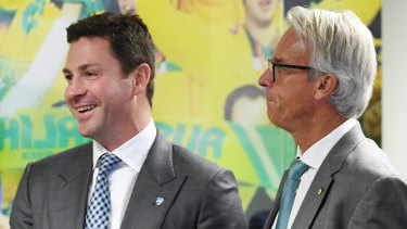 Food for thought: Sydney FC chairman Scott Barlow and FFA chief executive David Gallop.