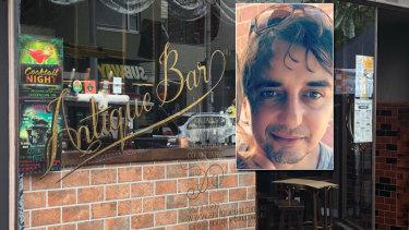 Antique Bar in Elsternwick where SpiroBoursine (inset) died on Saturday.