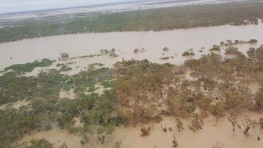 The swollen Flinders River at the 20 Mile Reserve on Thursday morning.