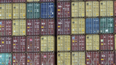 A bay of shipping containers on board a ship at the Port of Savannah in Georgia, US.