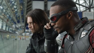 The Winter Soldier (Sebastian Stan) and the Falcon (Anthony Mackie).