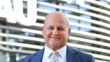 Rugby Australia interim CEO Rob Clarke outside Rugby Australia headquarters in Sydney.
