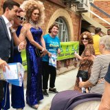 Two drag queens came out to support Trevor Evans at his polling booth at the last federal election.
