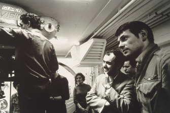 Stanley Kubrick (second from right) on the set of 2001: A Space Odyssey.