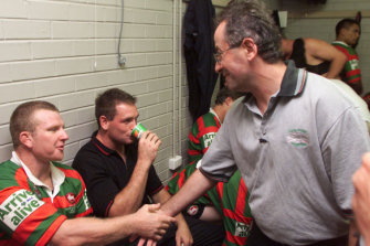 Denton meets players from his beloved South Sydney Rabbitohs rugby league team.
